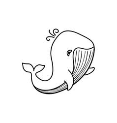 Sea whale cartoon vector image vector image