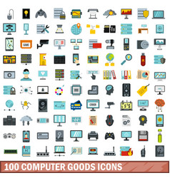 100 computer goods icons set flat style vector image