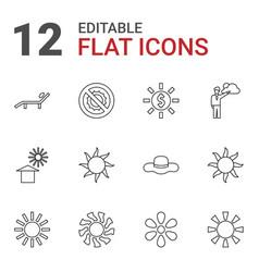 12 sun icons vector image