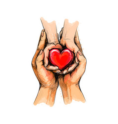 Adult and child hands holding red heart health vector