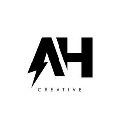 Ah letter logo design with lighting thunder bolt vector