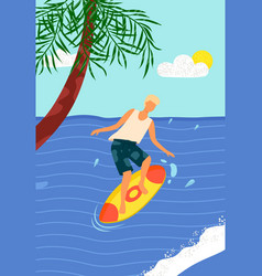 beach activity man on surfboard in sea with palm vector image