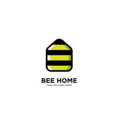 Bee home logo simple line logo template vector