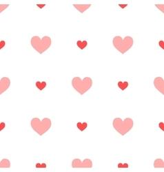 Big ang small pink hearts on white seamless vector