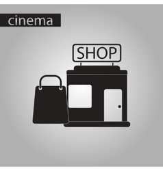 Black and white style icon shop package vector