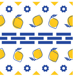 blue and white lemon mediterranean seamless tile vector image
