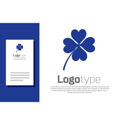 blue four leaf clover icon isolated on white vector image