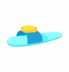 Blue slipper with yellow flower icon cartoon style vector