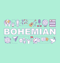 Bohemian word concepts banner unconventional vector