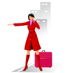 Business woman stops a taxi vector