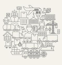 Cargo line icons circle vector
