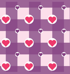 checkered with hearts in circles pattern vector image