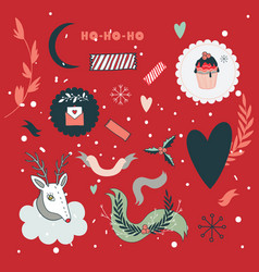 christmas and new year hand drawn design elements vector image