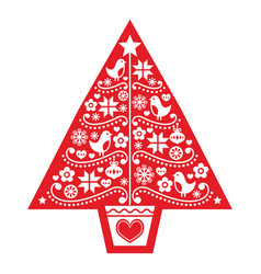 christmas tree folk art design vector image