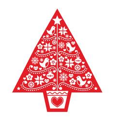 Christmas tree folk art design vector