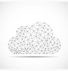 cloud of lines and dots abstract polygonal vector image