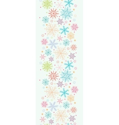 Colorful Doodle Snowflakes Vertical Seamless vector