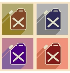 Concept of flat icons with long shadow jerrycan vector