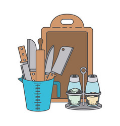 container with knives and rolling pin and salt and vector image