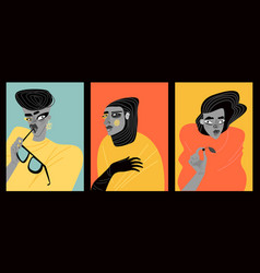 Contemporary art collection mages women vector