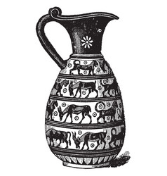 Corinthian vase is a greek vase decorated in vector
