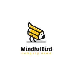 Creative pencil logo like little bird on white vector