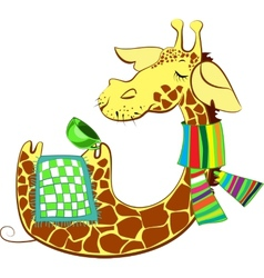 Cute giraffe got flue vector image