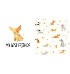 Cute little dogs seamless pattern and t-shirt vector