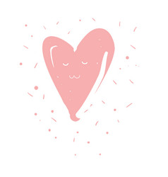 Cute pink kawaii heart with closed eyes vector