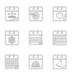 diary icons set outline style vector image