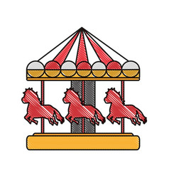 Doodle mechanical horse ride carnival game vector