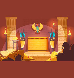 Egyptian tomb dark interior vector