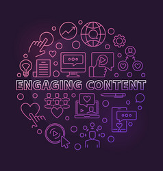 Engaging content circular colored thin line vector