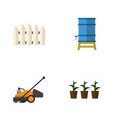 flat icon garden set of flowerpot wooden barrier vector image