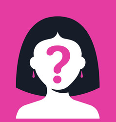 Girl with a question mark on her face on a pink vector