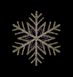 glitter covered gold snowflake greeting card vector image