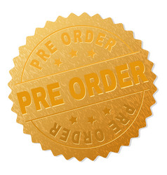 Golden pre order medal stamp vector