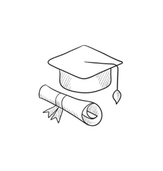 Graduation cap with paper scroll sketch icon vector image