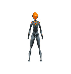 gray female robot space suit superhero cyborg vector image