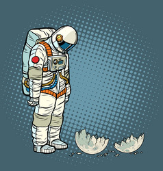 Guilty astronaut looks at the ruined moon vector
