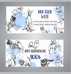 Hand drawn dogs breeds gift certificate sketch of vector