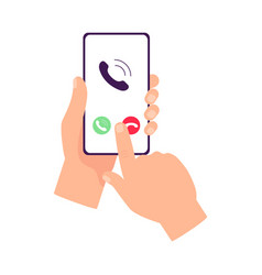 Hands holding smartphone with call screen and vector