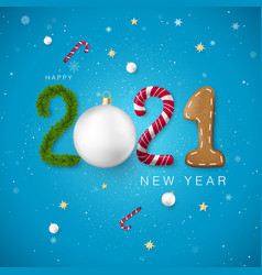 happy new year 2021 candy and christmas ball pine vector image