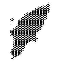 Hexagon halftone greek rhodes island map vector