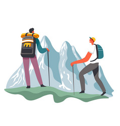 hiking and traveling with backpacks in mountains vector image