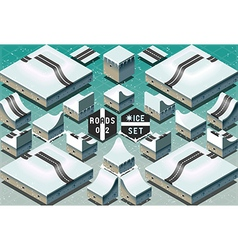 Isometric Roads on Two Levels Frozen Terrain vector