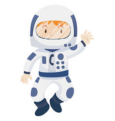 Kid in spacesuit costume vector