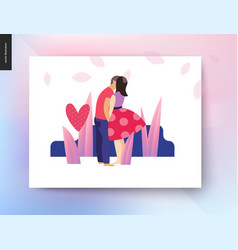 Kissing scene postcard vector