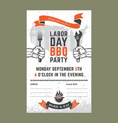Labor day BBQ invitation card vector