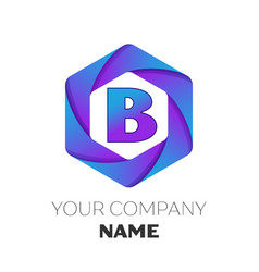 letter b logo symbol on colorful hexagonal vector image